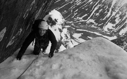 Atmospheric Climbing Approaching Tower Gap, Ben Nevis
