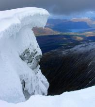 Impressive Cornice Overhanging Gardyloo Gully, Ben Nevis North Face
